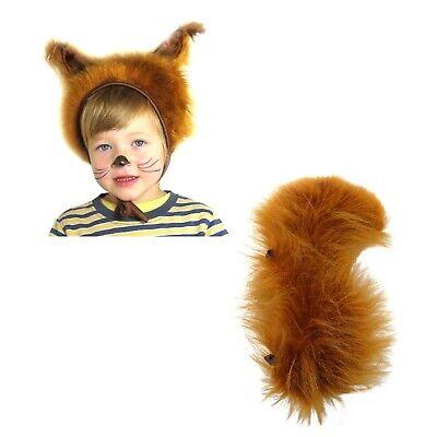 Faschingskostüme Eichhörnchen Mütze mit Ohren & Schwanz für Kinder Größe S/M