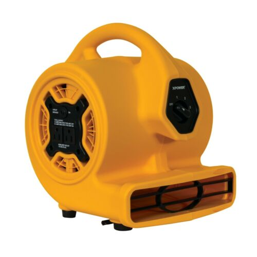 XPOWER P-130A 1/5 HP Mini Blower Air Mover Dryer Fan,Low 2 Amps-Yellow