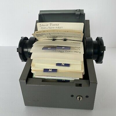 Vintage Rolodex Zephyr American Corp Metal Roll Top Rotary Card Desk File 4x2