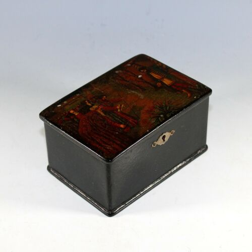 Antique Russian Lacquer Box with Lock