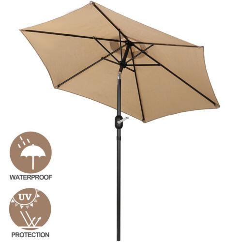 7.5 FT  Patio Umbrella Umbrella 6 Ribs with Tilt and Crank Outdoor Patio Garden Structures & Shade