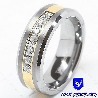 (Mens Tungsten Ring Diamond Inlay Center Brushed Wedding Band Jewelry Size 6-16)