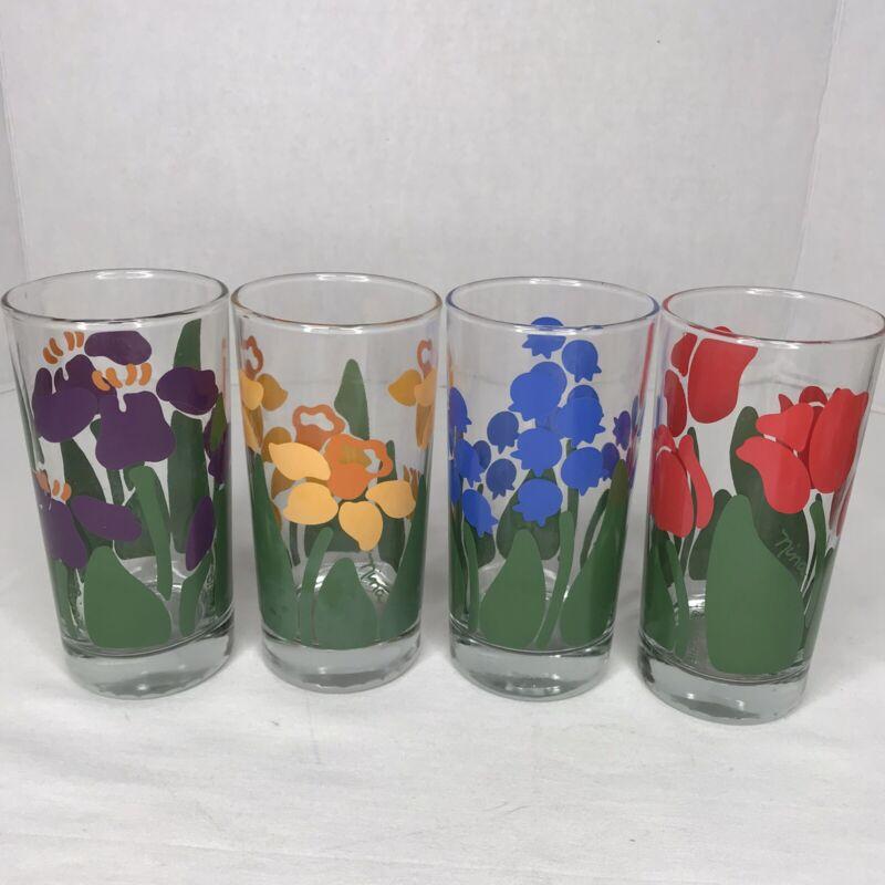 Anchor Hocking 1983 Nina Greenhouse Glass Tumbler 14oz Daffodil Tulip Iris NICE