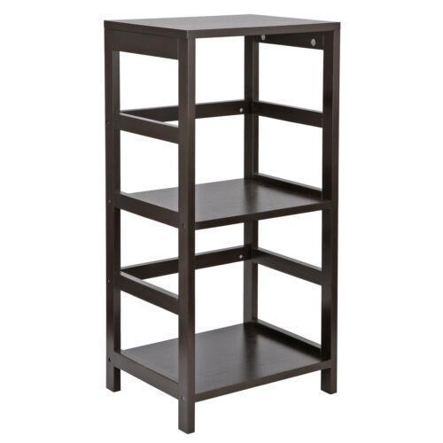 2 PCS 2 Section Open Storage Display Shelf Wood Shelving Bookcase Espresso Bookcases & Shelving
