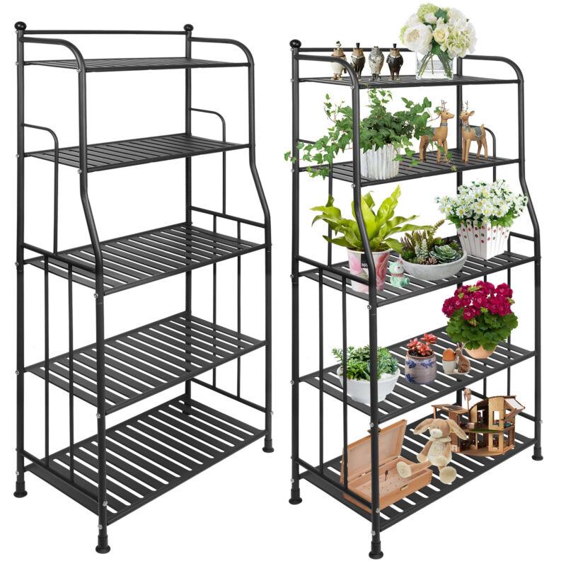 5-Layer Wire Shelves Unit Metal Multi Shelf Rack Kitchen Storage Organizer Black