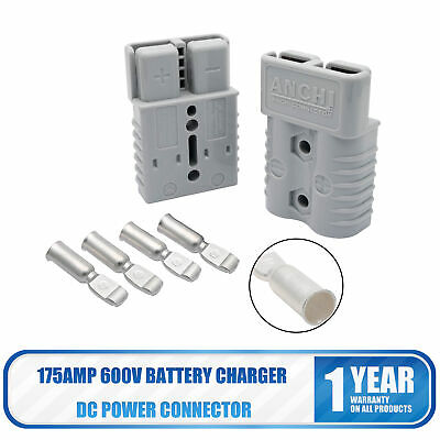 175a 600v Forklift Battery Connector Adapter Plug With 2 Ports Power Plug Grey