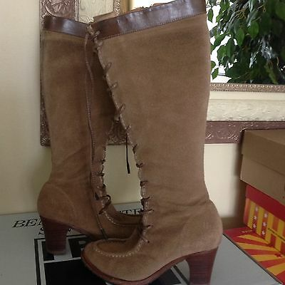 FRYE Fiona Moc Knee High Lace Up Womens Boots Tan Suede 5.5M MSRP $341  Womens Fiona Moc