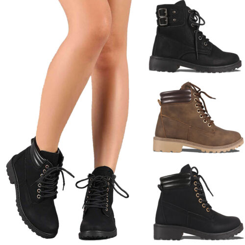 Women's Combat Army Military Boots Lace Up Block Heel Rubber