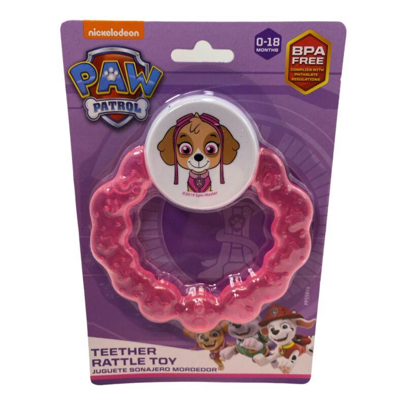 Paw Patrol Teether Rattle Toy - Pink Skylar 0-18 Months BPA Free Nickoldeon