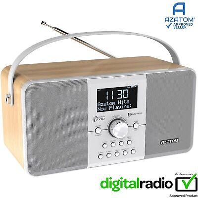 DAB Radio Clock Portabal Alarm Rechargeable Bluetooth AZATOM Mulitplex WHITE