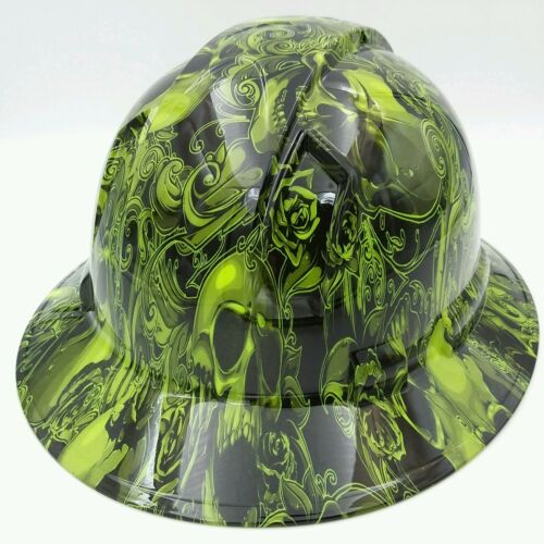 Hard Hat FULL BRIM  custom hydro dipped , OSHA approved SKULLS N ROSES LIME  3