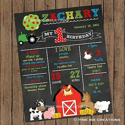 FARM Chalkboard Birthday Sign / Barnyard First Birthday Stats Sign / Printable (Birthday Chalkboard Sign)