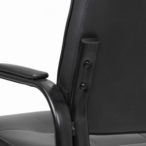 Black Leather Guest Chair Reception Waiting Room Office Desk Side Chairs Classic 10
