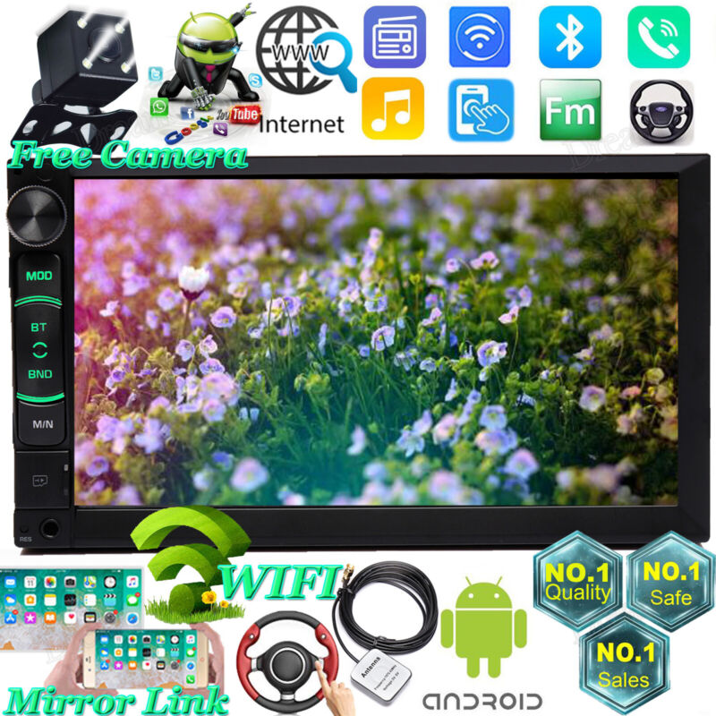"""7"""" Smart Android WiFi Double 2DIN Car Radio Stereo MP5 CarPlay GPS AUX BT+Camera"""
