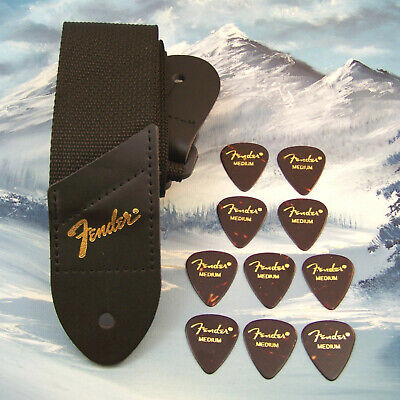 GUITAR STRAP ~ GENUINE FENDER ~ BLACK w/ GOLD LOGO + 10 CLASSIC MED 351 PICKS