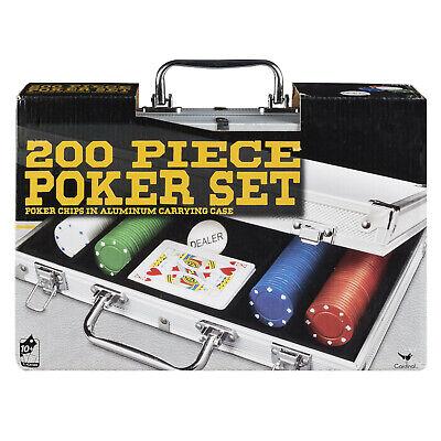 200 Piece Poker Set with Aluminum Carrying Case Cards Dealer Button