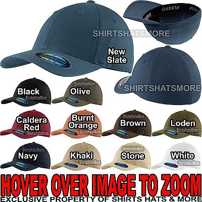 Flexfit Garment Washed Hat Twill FITTED CAP Sport Baseball S/M, L/XL NEW! Twill-fitted Cap