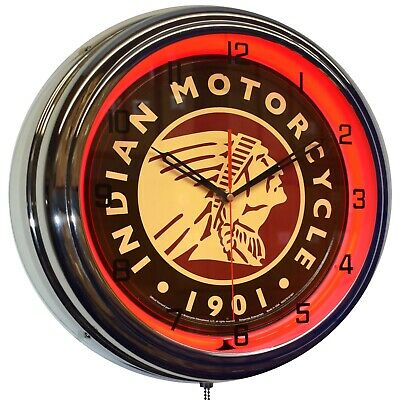 "Indian Motorcycle Since 1901 Sign 16"" Red Neon Advertising Clock Garage Decor"
