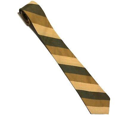 1940s Mens Ties | Wide Ties & Painted Ties Vintage 1940s J.B. Hunter swing tie Beige Tan Green Striped $13.99 AT vintagedancer.com