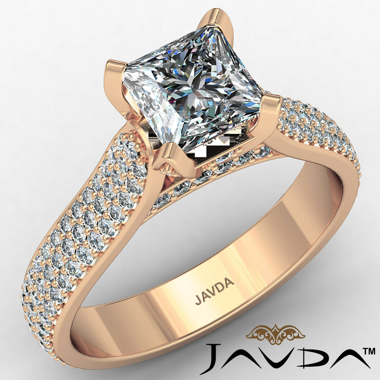 Princess Diamond Engagement Micro Pave Ring GIA E Color & SI1 clarity 1.95 ctw 2