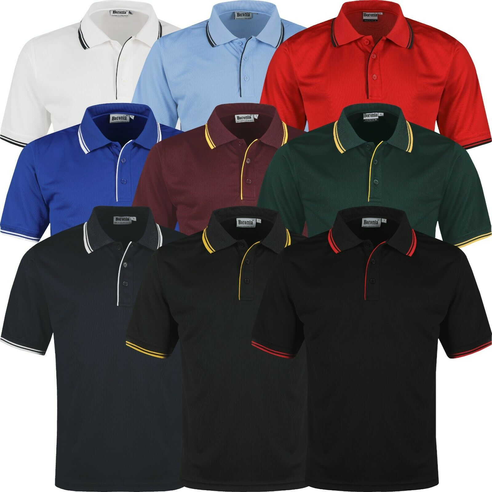 New Mens Polo Shirts Tipped Breathable Short Sleeve Sports Anti ...