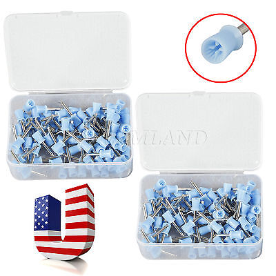 200x Dental Prophy Cup Rubber Polish Brush Polishing Tooth Latch Type Blue Yk-m