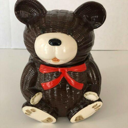 OMC Japan Teddy Bear Cookie Jar Brown Hand Painted Vintage