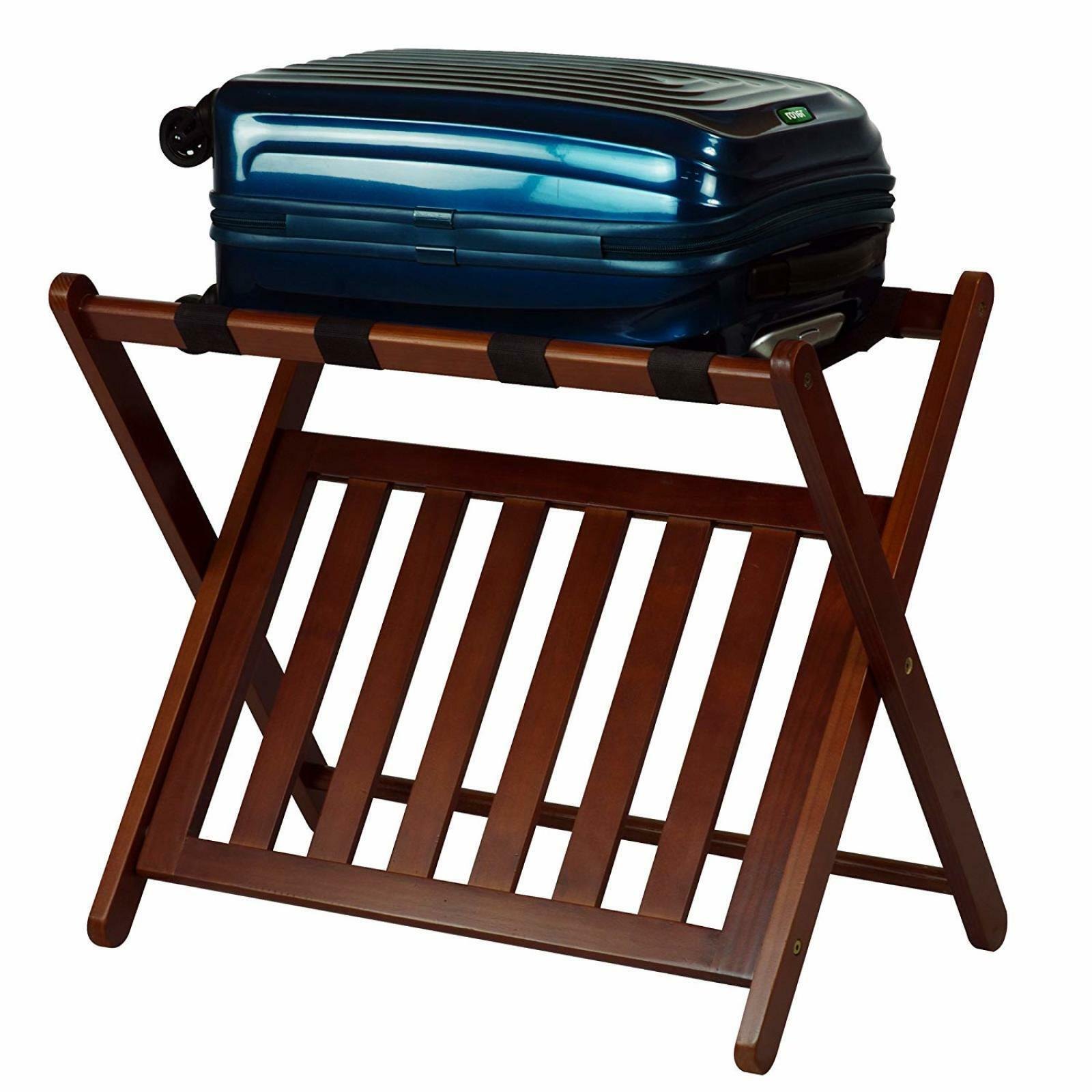 Details about Wood Folding Luggage Rack with Shelf Suitcase Holder Bedroom  Guestroom Storage