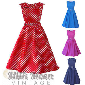 Vintage-1950s-60s-Red-White-Polka-Dot-Retro-Bow-Rockabilly-Evening-Party-Dress