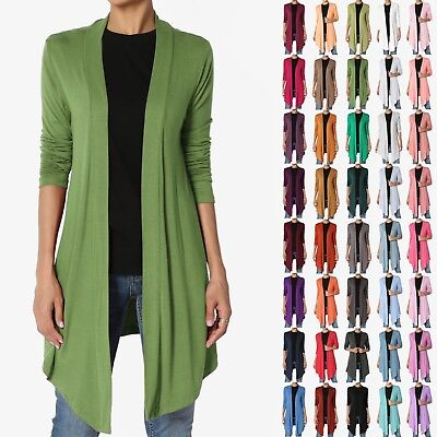 - TheMogan S~3X Basic Plain Solid Lightweight Jersey Knit Open Front Long Cardigan