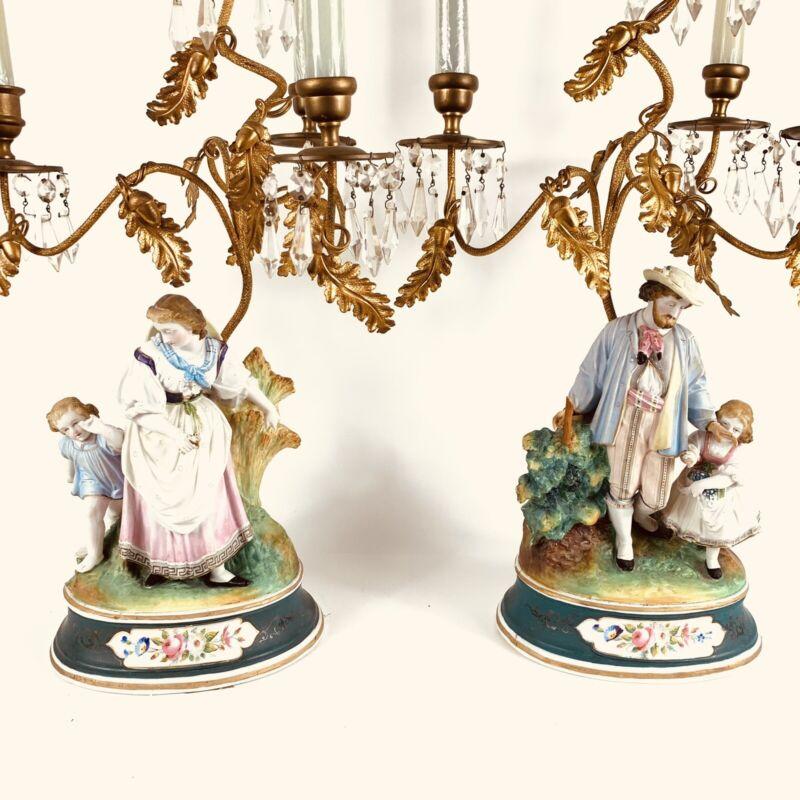 Antique Pair Volkstedt Bisque Bronze And Gems Figural 4 Lite Candelabras C1880