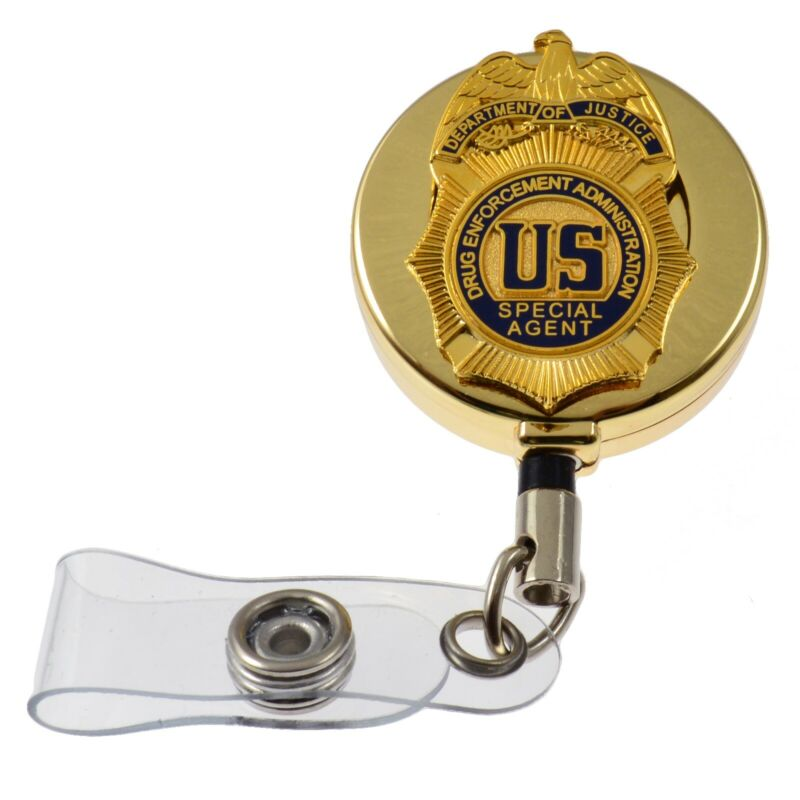DEA Justice Special Federal Agent Mini Badge Retractable ID Card Holder Reel g