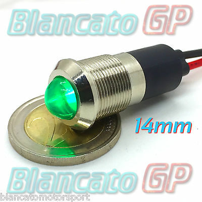 SPIA LED VERDE 12V DC METALLO TONDO 14mm auto moto