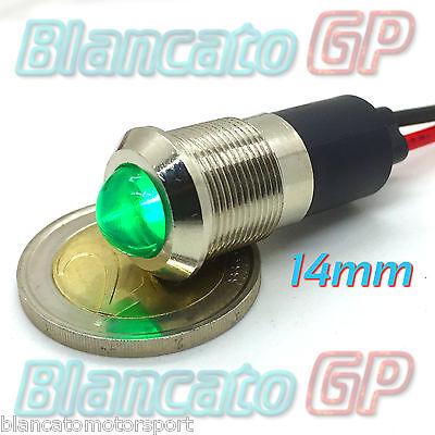 SPIA LED VERDE 12V DC METALLO TONDO 14mm auto moto