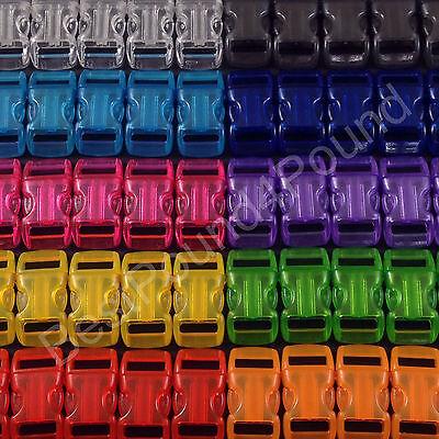 "50 3/8"" Jelly Buckles | 9 Color mix for Paracord Bracelets | Transparent Clips"