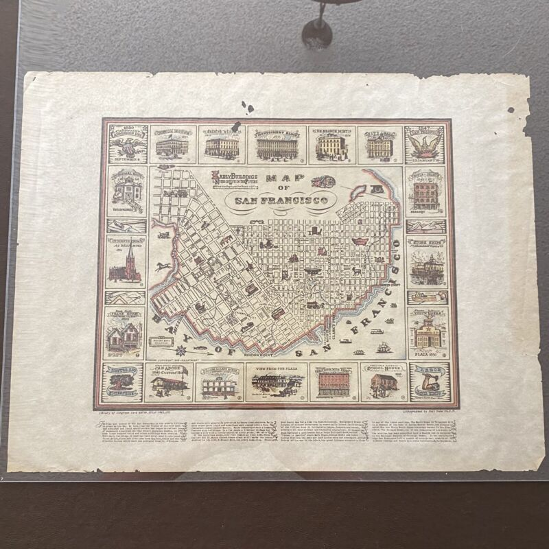 Vtg Parchment MAP OF SAN FRANCISCO Early Buildings Notes on Life in Fifties RUDD