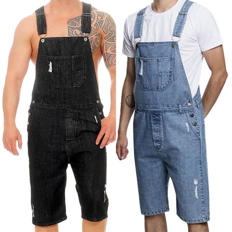 Herren Kurz Hosen Denim Sling Overall Schreiner Moto Biker Jeans Shorts Latzhose