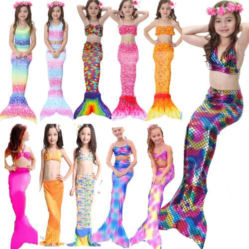 3tlg Mädchen Schwanzflosse Bikini Badeanzug Bademode Meerjungfrau Schwimmanzug K