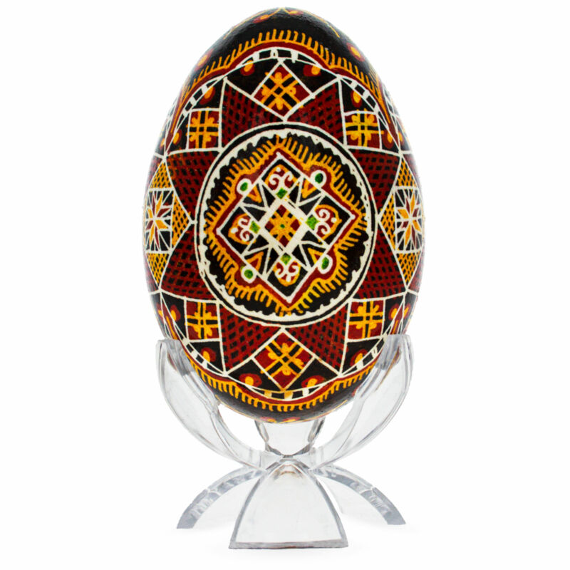 Traditional Geometrical Goose Size Real Blown Out Ukrainian Easter Egg 3.2
