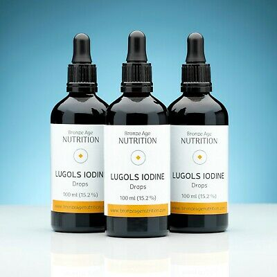 3 x 100ml Lugols Iodine, Original Full Strength 15% Lugol's, professionally made