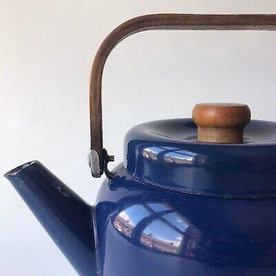 Vtg Mid Century Blue Enamel Kettle - Copco Finel era Bentwood Handle 60s 70s