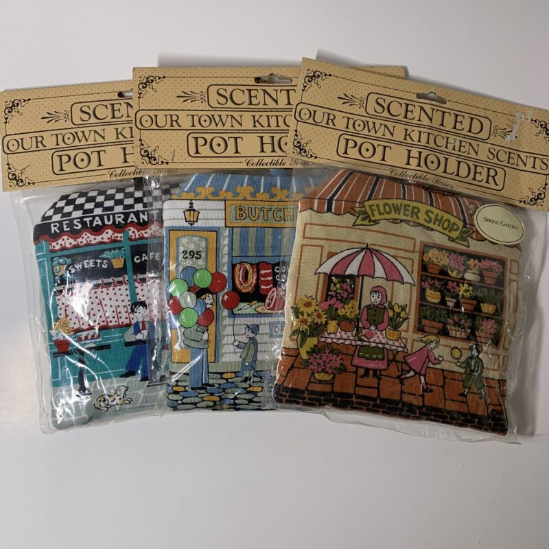 "New Sealed Scented ""Our Town Kitchen Scents"" Pot Holders Lot Of 3 Collect Series"
