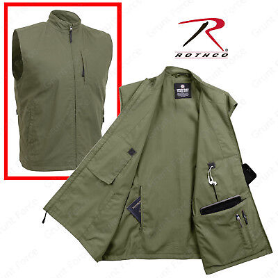 Olive Drab Undercover Travel Vest - Men's 12 Pocket Tactical Vest Rothco 2721 - Mens Olive Drab