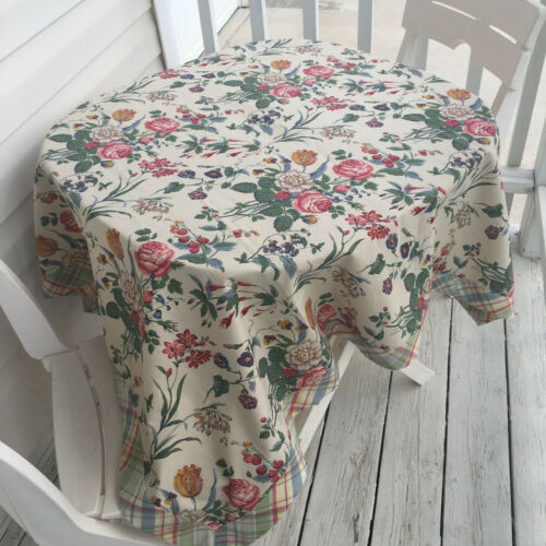 English Tea Room Style Tablecloth. Newly made, vintage fabric - Garden Delight