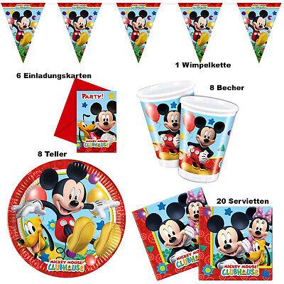 Mickey Mouse Tisch Deko Party Set Kinder Fest Geburtstag 1 Minnie Micky Maus  ()
