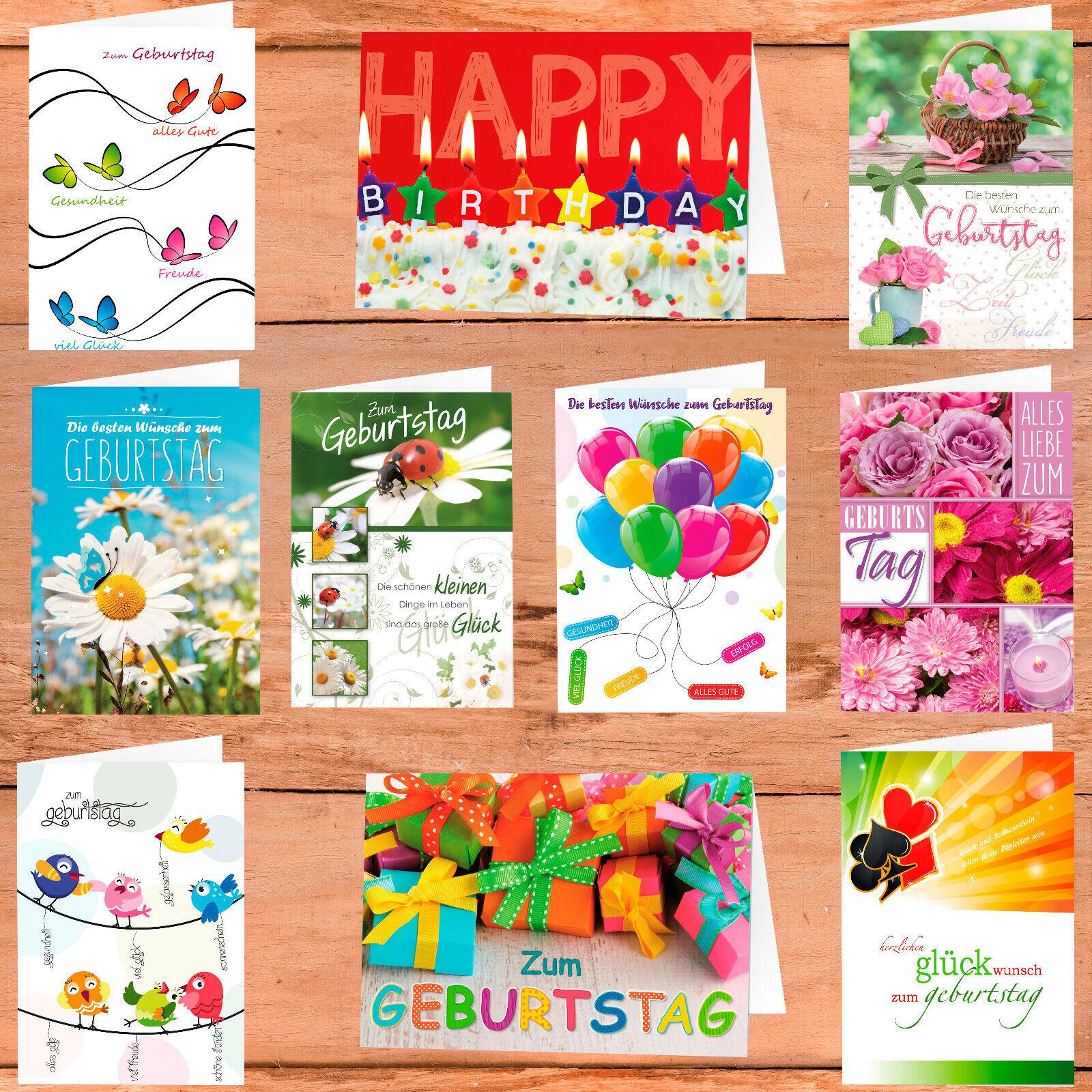 Geburtstagskarten Grußkarten Geburtstag Glückwunschkarten KartenSet mit Umschlag