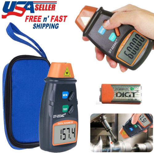 Digital Tachometer Laser Photo Non Contact RPM Tach Meter Motor Speed Gauge New