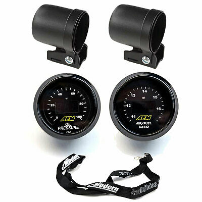 AEM 2 Gauge Kit 52mm Oil Pressure & UEGO WideBand Air Fuel Ratio w/ Mounting Cup