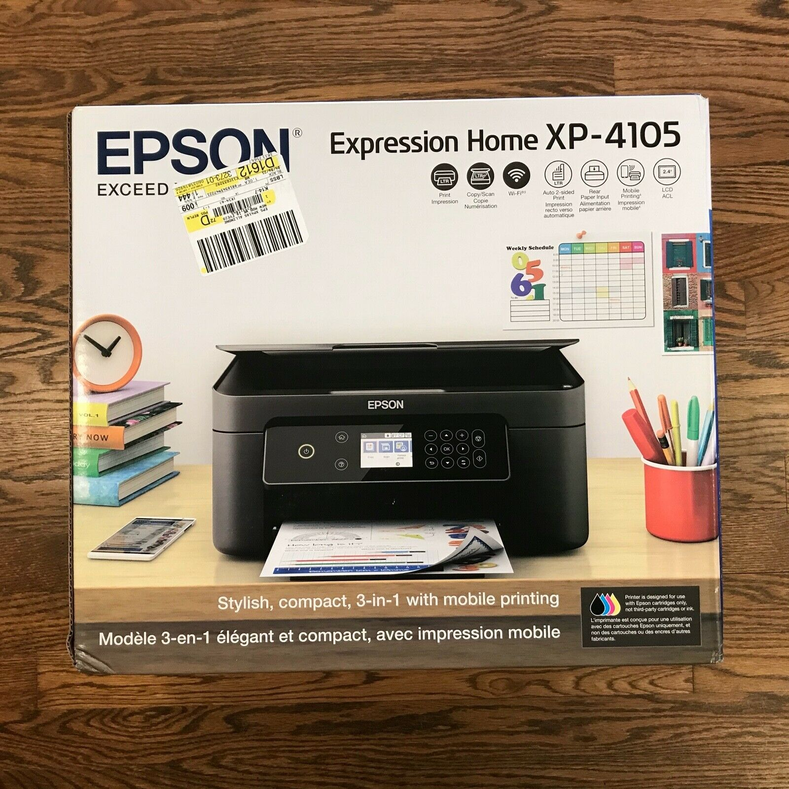 New Epson Expression Home XP-4105 Wireless All-in-One Color Inkjet Printer - $94.88