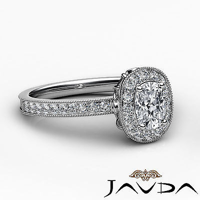 Milgrain Halo Pave Bezel Set Cushion Diamond Engagement Ring GIA G Color VS2 1Ct 2